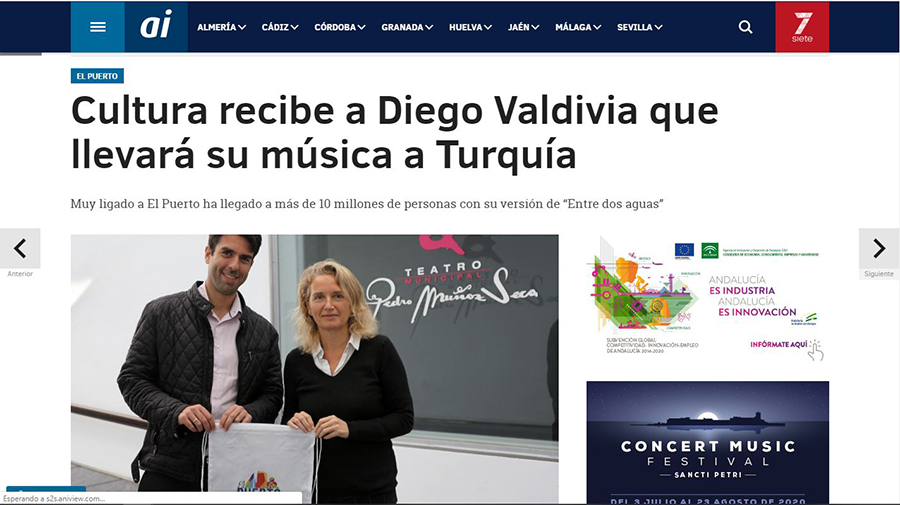 Cultura recibe a Diego Valdivia que llevará su música a Turquía