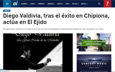 Diego Valdivia, tras el éxito en Chipiona, actúa en El Ejido